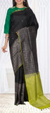 Black & Parrot Green Soft Silk Saree With Half Fine Zari