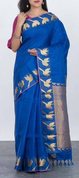 Dark Blue Lightweight Kanchipuram Silk Saree