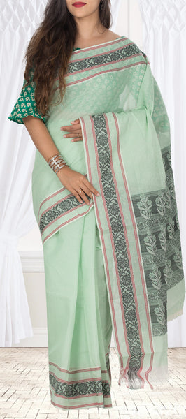 Light Green Embossed Cotton Saree