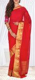Kumkum Red Semi Chiffon Saree