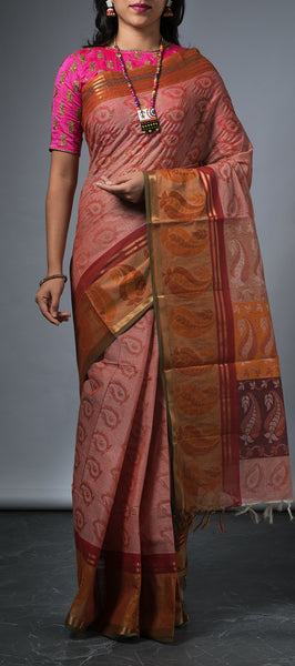 Onion Pink Embossed Cotton Saree