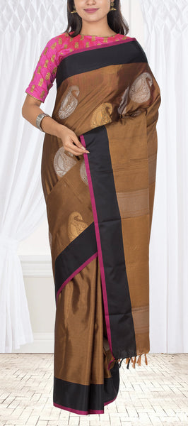 Brown & Black Semi Silk Cotton Casual Saree