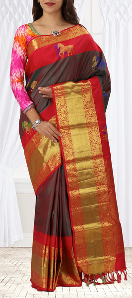 Red & Green-Red Pure Kanchipuram Silk Saree With Colourful Pallu & Half Fine Zari
