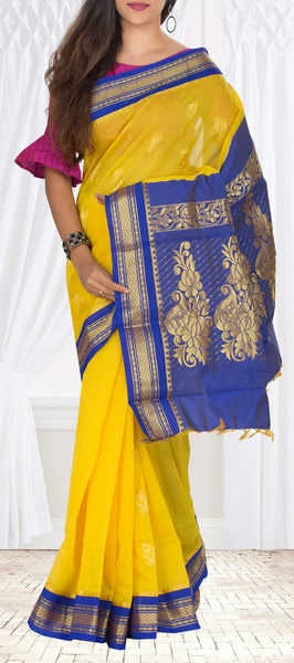Yellow & Dark Blue Traditional Semi Silk Cotton Casual Saree