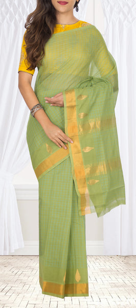 Light Parrot Green Summer Cotton Saree