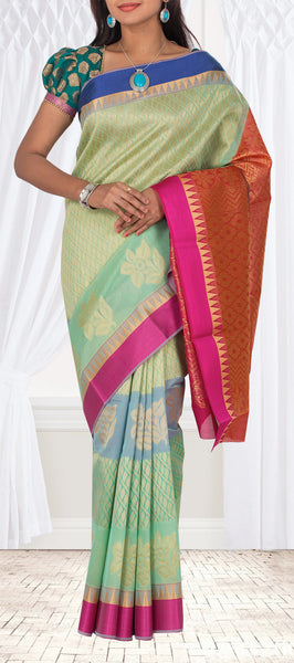 Light Green, Dark Pink & Blue Semi Benarasi Casual Saree