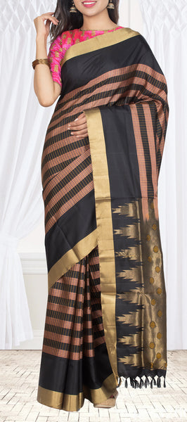 Light Brown & Black Pure Soft Silk Saree