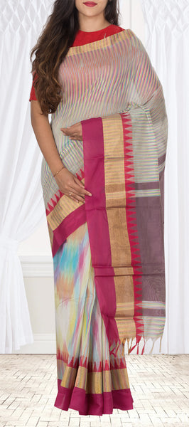 Multicoloured Semi Silk Cotton Casual Saree