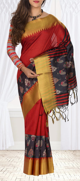 Maroon & Black Semi Linen Saree