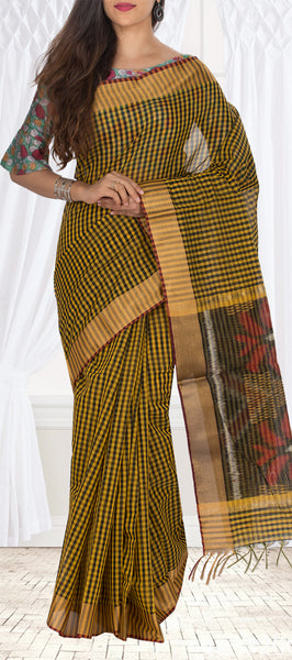 Mustard & Black Semi Silk Cotton Casual Saree