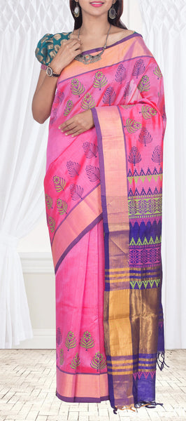 Pink Silk Cotton Saree With Block Prints