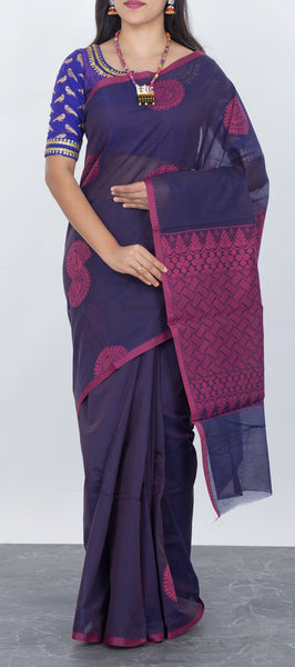 Wine Purple Semi Silk Cotton Saree