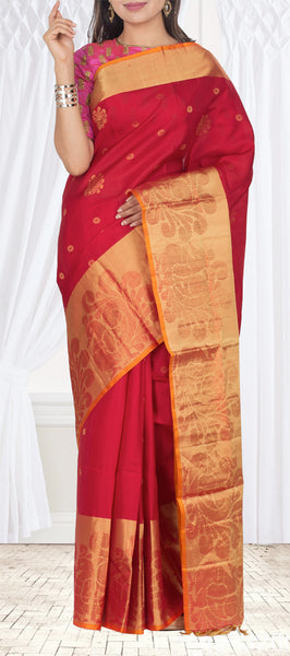 Kumkum Red & Orange Soft Silk Saree