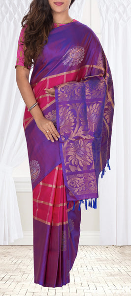 Dark Pink & Purple Soft Silk Saree