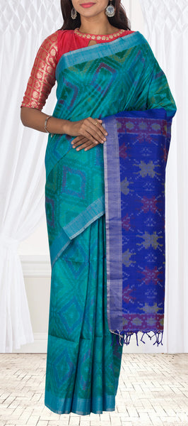 Teal & Dark Blue Jute Silk Saree