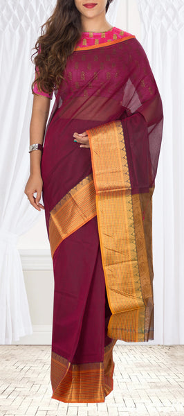 Traditional Magenta Cotton Saree