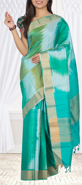 Blue & Green Lightweight Kanchipuram Silk Saree