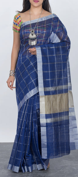 Dark blue Semi Silk Cotton Saree with Checks