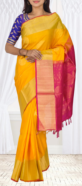 Sunflower Yellow & Magenta Soft Silk Saree