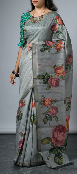 Grey Semi Jute Saree with Kalamkari Print