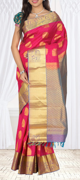 Bright Pink & Mauve Lightweight Kanchipuram Silk Saree