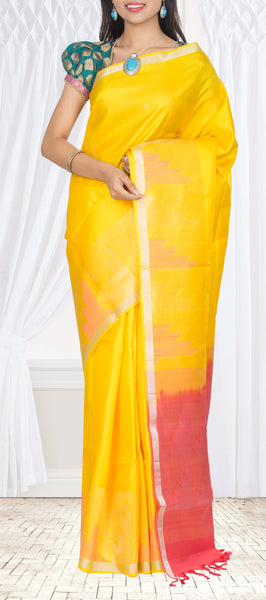 Yellow & Peach Pure Soft Silk Saree
