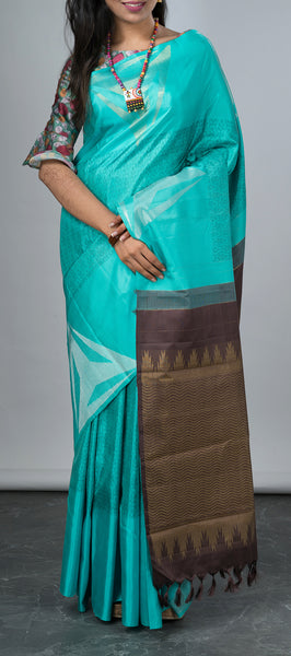 Turquoise Blue Kanchipuram Silk Saree