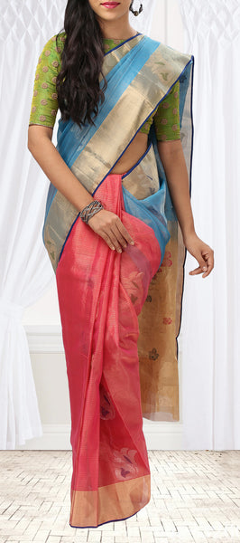 Pink and Sky Blue Silk Cotton Saree