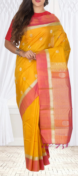 Mango Yellow & Peach Lightweight Kanchipuram Silk Saree