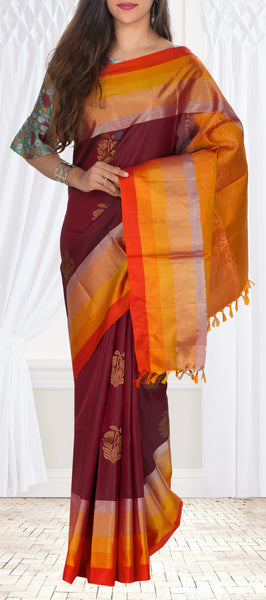 Maroon & Orange Soft Silk Saree