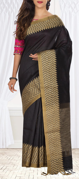 Black Semi Jute Saree