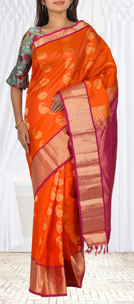 Orange & Magenta Lightweight Kanchipuram Handloom Pure Silk Saree
