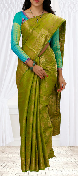 Olive Green & Zari Fancy Saree