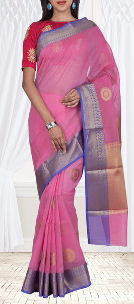 Lavender & Navy Blue Organza Saree
