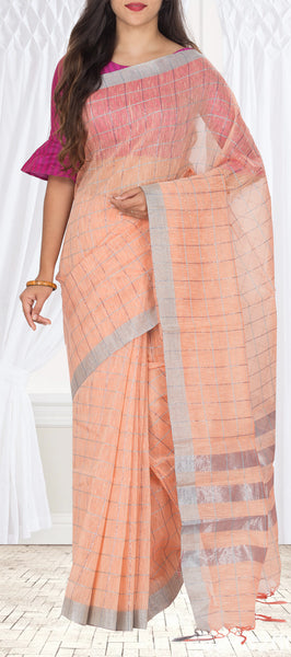 Peach Semi Linen Casual Saree