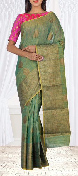 Green Semi Linen Casual Saree