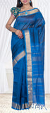 Teal Blue & Navy Blue Traditional Silk Cotton Saree — Diwali Collection