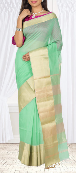 Coral Green Maheshwari Cotton Saree