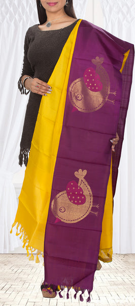 Yellow & Purple Pure Kanchipuram Silk Dupatta
