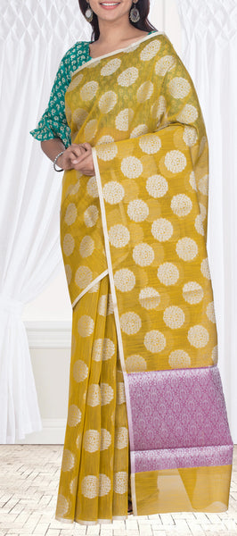 Yellow Semi Linen Saree