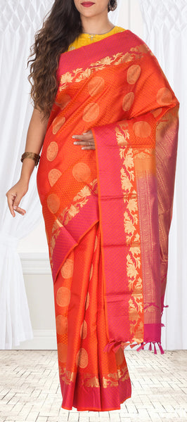 Orange & Magenta Pure Kanchipuram Handloom Silk Saree With Half Fine Zari
