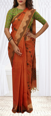 Salmon and Olive Summer Cotton Saree