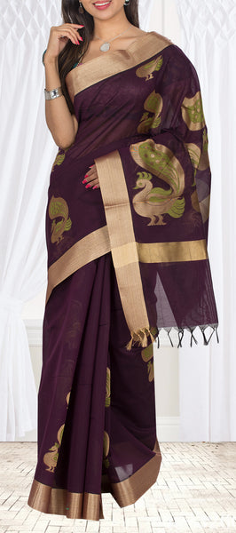 Purple-Brown Semi Silk Cotton Casual Saree