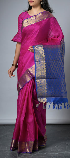 Purple Kanchipuram Lightweight Silk Saree