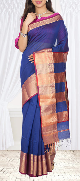 Royal Blue & Red Maheshwari Cotton Saree