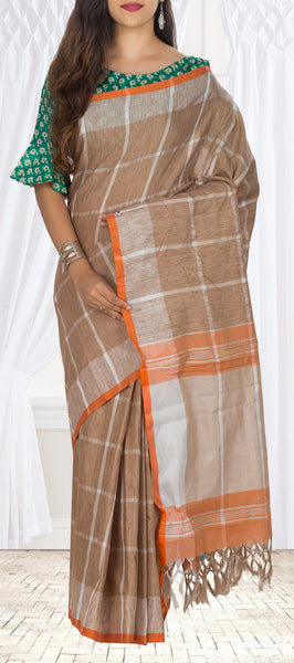 Brown & Orange Semi Linen Saree