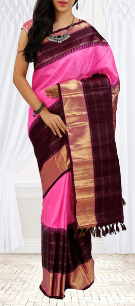 Hot Pink Pure Kanchipuram Handloom Silk Saree With Half Fine Zari