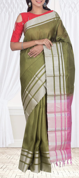Pista Green Simple Soft Silk Saree