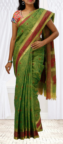 Parrot Green & Maroon Embossed Summer Cotton Saree