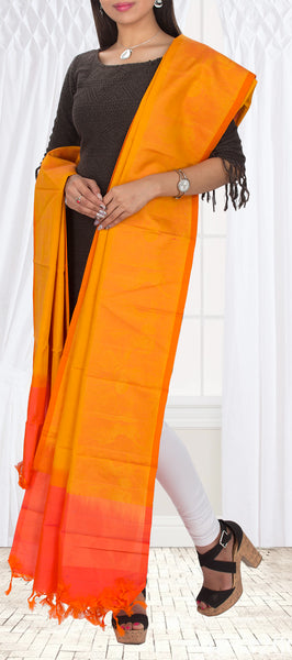 Saffron & Flame Orange Pure Kanchipuram Silk Dupatta